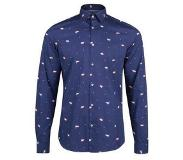 We fashion slim fit kerst overhemd Donkerblauw XXL