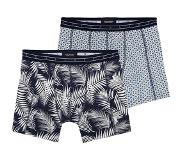 Scotch & soda 2-PACK MOTIF BOXERSHORT PALMS AND BLOCKS, Extra large (Blauw, Navy, Extra large)