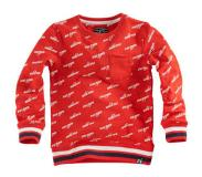 Z8 sweater Balthazar met tekst rood Rood/wit/donkerblauw 92/98