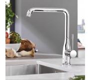 GROHE Essence New keukenkraan met L-uitloop Chroom