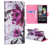 Carryme Paarse bloem bookstyle hoesje Huawei Ascend P6 / P6s