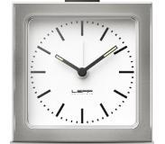 Leff amsterdam Block alarmklok stalen behuizing, witte plaat