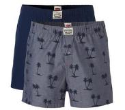 Levi's 2-PACK WOVEN BOXERSHORTS PALMTREE PRINT TRUE BLUE, Small (Blauw, Print, Small)