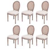 Vidaxl chaises de salle a manger 6 pieces lin et rotin - Chaise de salle a manger en rotin ...
