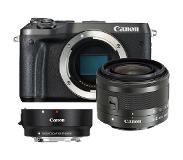 Canon EOS M6 zwart + 15-45mm IS STM zwart + EF-EOS M mount adapter