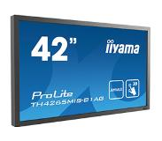 "Iiyama ProLite TH4265MIS-B1AG touch screen-monitor 106,7 cm (42"") 1920 x 1080 Pixels Zwart Multi-touch"