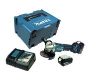 Makita DGA508RTJ 18V Li-Ion Accu haakse slijper set (2x 5.0Ah accu) in Mbox - 125mm - koolborstelloos - softstart