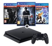Sony PlayStation 4, Console (Black) + 1 TB + Ratchet + Clank (PlayStation Hits) + Uncharted 4: A Thief\'s End (PlayStation Hits) + The Last of Us: Remastered (PlayStation Hits) PS4