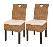 Vidaxl chaises de salle a manger 2 pcs rotin kubu bois manguier - Chaise de salle a manger en rotin ...