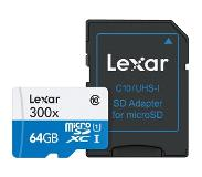 Lexar High Performance Micro SD kaart 64GB met SD adapter