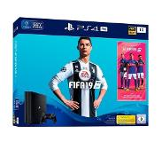 Sony PlayStation 4 Pro 1TB + FIFA 19 1000GB Wi-Fi Zwart