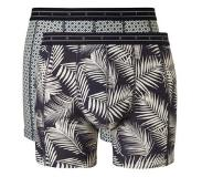 Scotch & soda 2-PACK MOTIF BOXERSHORT STRIPES AND PALMS (Black, Navy, Grijs, Small)