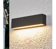 Lampenwelt.com Elvira - grafietgr. LED outdoor wandlamp met IP65