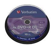 Verbatim DVD+R Double Layer Matt Silver 8x 10 Pack Spindle
