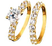 Golden style Set van 2 damesringen met similistenen Wit