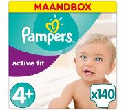 Pampers Active Fit Maat-4 Maxi Plus 9-20kg Maandbox 140-Luiers 140luier