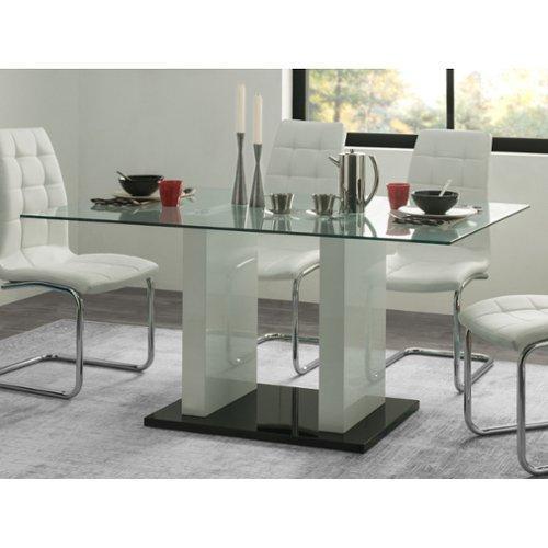 Eetkamerset: eettafel en 4 stoelen AYANE Eik en wit